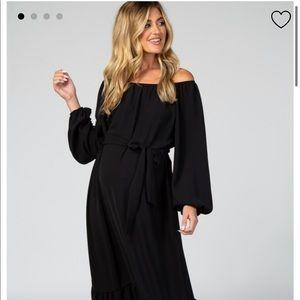 Emma + Olivia Peasant Maxi Dress Black Large